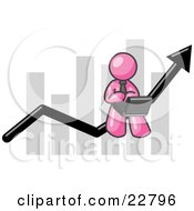 Clipart Illustration Of A Pink Man Conducting Business On A Laptop Computer On An Arrow Moving Upwards In Front Of A Bar Graph Symbolizing Success by Leo Blanchette