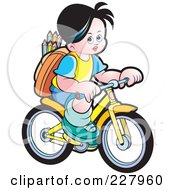 Royalty Free RF Clipart Illustration Of A School Boy Riding A Bicycle by Lal Perera