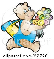 Royalty Free RF Clipart Illustration Of A Happy Bear Running With Flowers by Lal Perera