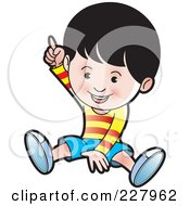 Royalty Free RF Clipart Illustration Of A Happy Boy Sitting And Pointing Up