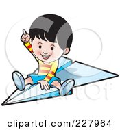 Royalty Free RF Clipart Illustration Of A Happy Boy Riding A Paper Airplane by Lal Perera
