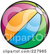 Royalty Free RF Clipart Illustration Of A Colorful Beach Ball With Stripes