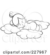 Royalty Free RF Clipart Illustration Of A Coloring Page Outline Of A Cute Girl Sleeping On Soft Clouds