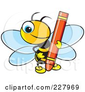 Royalty Free RF Clipart Illustration Of A Cute Bee Holding A Red Crayon by Lal Perera