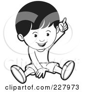 Royalty Free RF Clipart Illustration Of A Coloring Page Outline Of A Boy Sitting And Pointing Up
