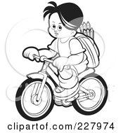 Royalty Free RF Clipart Illustration Of A Coloring Page Outline Of A School Boy Riding A Bicycle by Lal Perera