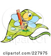 Royalty Free RF Clipart Illustration Of A Cute Bee Holding A Red Crayon On A Wet Leaf