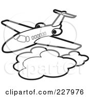 Royalty Free RF Clipart Illustration Of A Coloring Page Outline Of An Airliner Above Clouds by Lal Perera