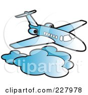 Royalty Free RF Clipart Illustration Of A Blue Airliner Above Clouds by Lal Perera