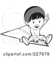 Royalty Free RF Clipart Illustration Of A Coloring Page Outline Of A Boy Riding A Paper Airplane by Lal Perera