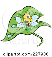 Royalty Free RF Clipart Illustration Of A Cute Bee Holding A Green Crayon On A Wet Leaf