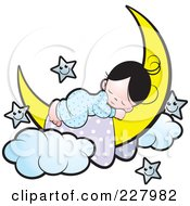 Girl Sleeping On A Crescent Moon By Happy Stars