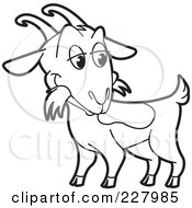 Royalty Free RF Clipart Illustration Of A Coloring Page Outline Of A Goat