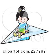 Royalty Free RF Clipart Illustration Of A Cute Girl On A Paper Airplane by Lal Perera