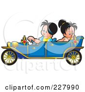 Royalty Free RF Clipart Illustration Of A Boy And Girl Riding In A Blue Vintage Car