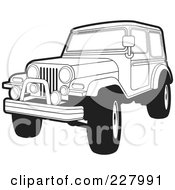 Royalty Free RF Clipart Illustration Of A Coloring Page Outline Of A Jeep Wrangler