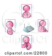 Clipart Illustration Of Pink Men Holding A Phone Meeting And Wearing Wireless Headsets