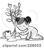 Royalty Free RF Clipart Illustration Of A Coloring Page Outline Of A Girl Planting A Tree