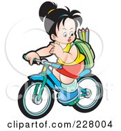Royalty Free RF Clipart Illustration Of A Girl Riding Her Bike To School by Lal Perera