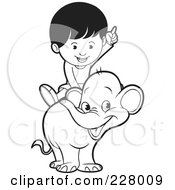 Royalty Free RF Clipart Illustration Of A Coloring Page Outline Of A Boy Riding A Cute Elephant by Lal Perera