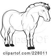 Royalty Free RF Clipart Illustration Of A Coloring Page Outline Of A Strong Horse