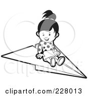 Royalty Free RF Clipart Illustration Of A Coloring Page Outline Of A Girl On A Paper Airplane by Lal Perera