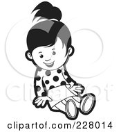 Royalty Free RF Clipart Illustration Of A Coloring Page Outline Of A Girl Sitting