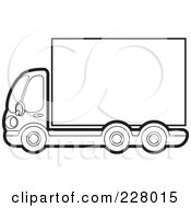 Royalty Free RF Clipart Illustration Of A Coloring Page Outline Of A Big Rig With A Blank Trailer