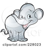 Royalty Free RF Clipart Illustration Of A Cute Little Elephant by Lal Perera