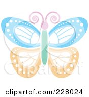 Royalty Free RF Clipart Illustration Of A Colorful Pink Blue Green And Orange Butterfly by Lal Perera
