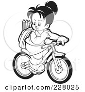 Royalty Free RF Clipart Illustration Of A Coloring Page Outline Of A Girl Riding Her Bike To School by Lal Perera