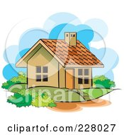 Royalty Free RF Clipart Illustration Of A Cute House And Yard by Lal Perera