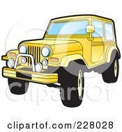 Royalty Free RF Clipart Illustration Of A Yellow Jeep Wrangler by Lal Perera