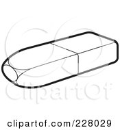 Royalty Free RF Clipart Illustration Of A Coloring Page Outline Of An Eraser