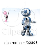 Clipart Illustration Of A Pink Man Inventor Operating An Blue Robot With A Remote Control