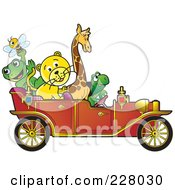 Royalty Free RF Clipart Illustration Of Happy Animals Riding In A Red Vintage Car by Lal Perera