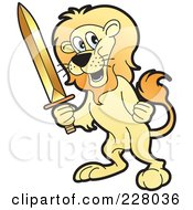 Royalty Free RF Clipart Illustration Of A Lion Holding A Sword by Lal Perera