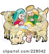 Royalty Free RF Clipart Illustration Of A Nativity Scene With Baby Jesus And Animals
