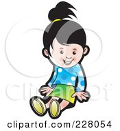 Royalty Free RF Clipart Illustration Of A Cute Girl Sitting