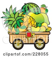 Royalty Free RF Clipart Illustration Of A Fruit Cart by Lal Perera