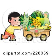 Royalty Free RF Clipart Illustration Of A Boy Pushing A Fruit Cart