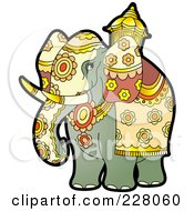 Royalty Free RF Clipart Illustration Of A Pageant Elephant by Lal Perera
