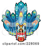 Royalty Free RF Clipart Illustration Of A Sri Lankan Devil Dancing Mask by Lal Perera