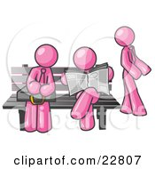 Clipart Illustration Of Pink Men At A Bench At A Bus Stop