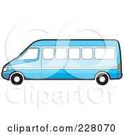 Royalty Free RF Clipart Illustration Of A Long Blue Van by Lal Perera
