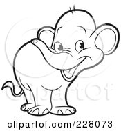 Royalty Free RF Clipart Illustration Of A Coloring Page Outline Of A Cute Little Elephant by Lal Perera