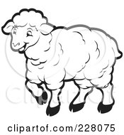 Royalty Free RF Clipart Illustration Of A Coloring Page Outline Of A Happy Sheep by Lal Perera #COLLC228075-0106