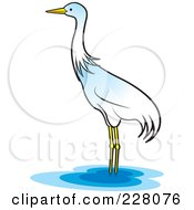 Royalty Free RF Clipart Illustration Of A Lone Crane Wading