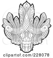 Royalty Free RF Clipart Illustration Of A Coloring Page Outline Of A Sri Lankan Devil Dancing Mask by Lal Perera #COLLC228078-0106