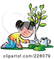 Royalty Free RF Clipart Illustration Of A Happy Girl Planting A Tree